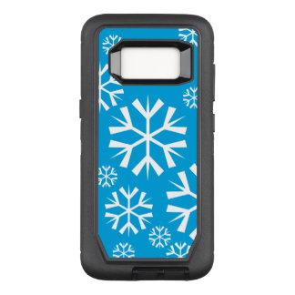 Weiße Schneeflocken auf einem blauen Hintergrund OtterBox Defender Samsung Galaxy S8 Hülle