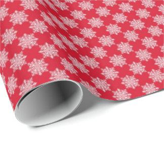 Weiße Schneeflocken auf rotem Geschenk-Packpapier Geschenkpapier