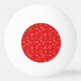 Weiße Schneeflocken auf Weihnachtsrot Ping-Pong Ball