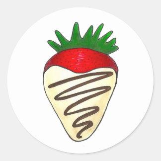 Weiße Schokoladen-ErdbeerValentinsgruß-Aufkleber Runder Aufkleber