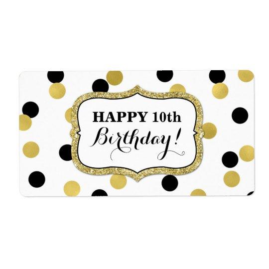 Weiße schwarze Goldconfetti-Geburtstags-Aufkleber Versandetiketten