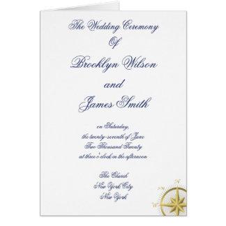 Weiße Seehochzeits-Zeremonie-Programme Karte