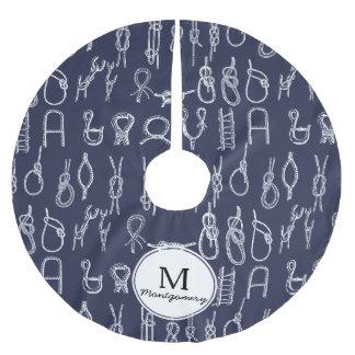 Weiße Seil-nautischknoten u. Polyester Weihnachtsbaumdecke
