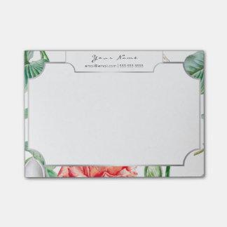 Weiße silberne Rahmen-Rosa-Rosen-tropisches Blumen Post-it Klebezettel