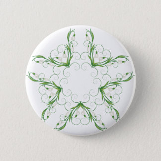 Weiße Snowdrop Blumen 2 Runder Button 5,7 Cm