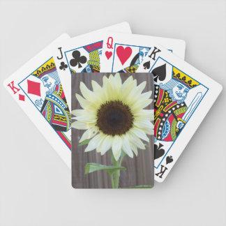 Weiße Sonnenblume gegen einen verwitterten Zaun Bicycle Spielkarten