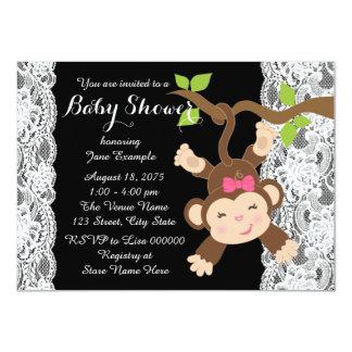Weiße Spitze-Affe-Baby-Dusche 11,4 X 15,9 Cm Einladungskarte