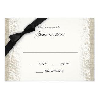 Weiße Spitze-Leinwand-Schwarz-Bogen-Wartekarte Einladungskarten
