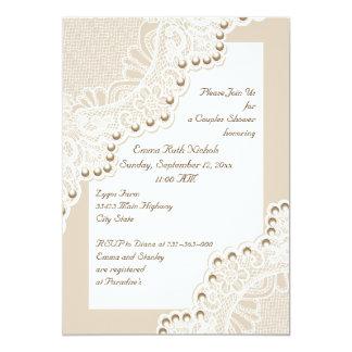 Weiße Spitze mit den Perlen, die Paardusche Individuelle Einladungskarte