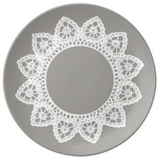 Weiße Spitze-Porzellan-Platte Porzellanteller