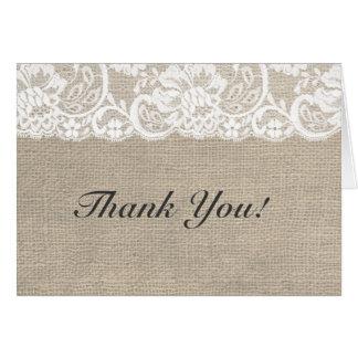 Weiße Spitze-u. Leinwand-rustikale Hochzeit danken Mitteilungskarte