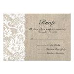 Weiße Spitze-und Leinwand-Hochzeit UAWG Karte Personalisierte Ankündigung