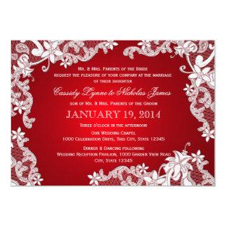 Weiße Spitze-und Rubin-Hochzeit 12,7 X 17,8 Cm Einladungskarte