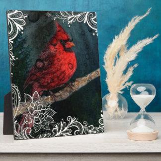 Weiße Spitze ursprünglicher Weihnachtsrot-Kardinal Fotoplatte