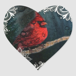 Weiße Spitze ursprünglicher Weihnachtsrot-Kardinal Herz-Aufkleber
