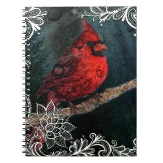 Weiße Spitze ursprünglicher Weihnachtsrot-Kardinal Spiral Notizblock