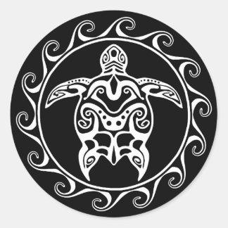 Weiße Stammes- Schildkröte Runder Aufkleber