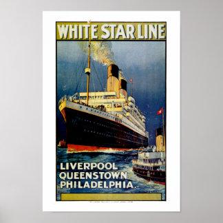 Weiße Stern-Linie nach Philadelphia Poster