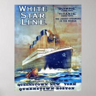 Weiße Stern-Linie Poster