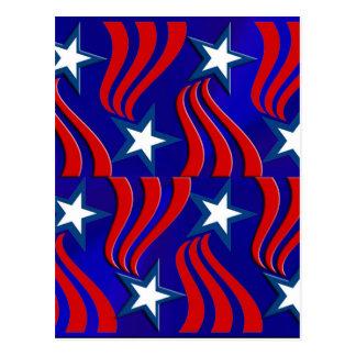 Weiße Sterne, rote Streifen und blauer Hintergrund Postkarten