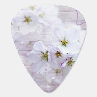 Weiße stilvolle Kirschblüte Plektrum