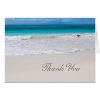 Weiße Strand-Hochzeit danken Ihnen Karte