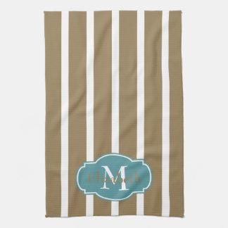 Weiße Streifen auf kakifarbigem Monogramm Küchentuch