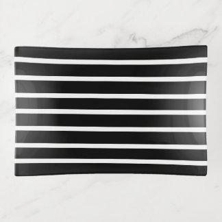 weiße Streifen auf schwarzem modernem Dekoschale