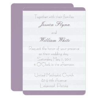 Weiße Streifen-Hochzeit laden ein Karte
