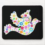 Weiße Taube der Blumen Mousepad