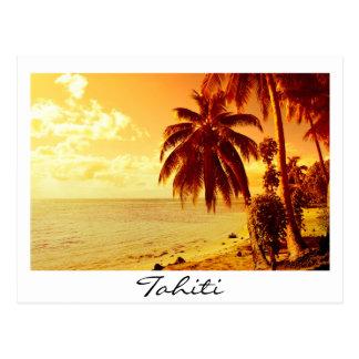 Weiße Textpostkarte Tahiti-Sonnenuntergangs Postkarte