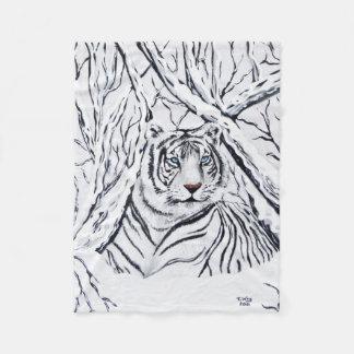 Weiße Tiger-Fleece-Decke Fleecedecke