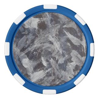 Weiße Tinte auf Brown und blauem Hintergrund Poker Chips