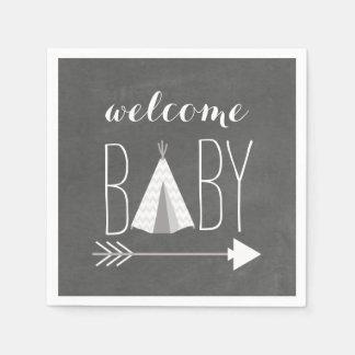 Weiße Tipi-Babyparty-Papierserviette Serviette