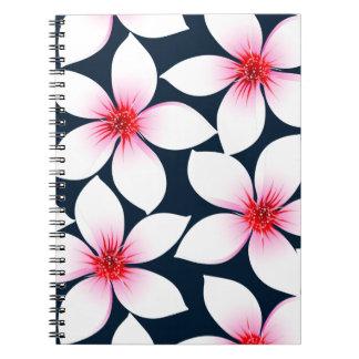 Weiße tropische Hibiskus-Blumen Spiral Notizblock