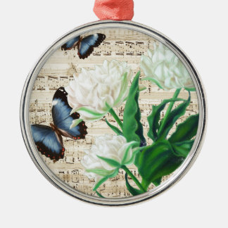 Weiße Tulpen Morpho Rundes Silberfarbenes Ornament