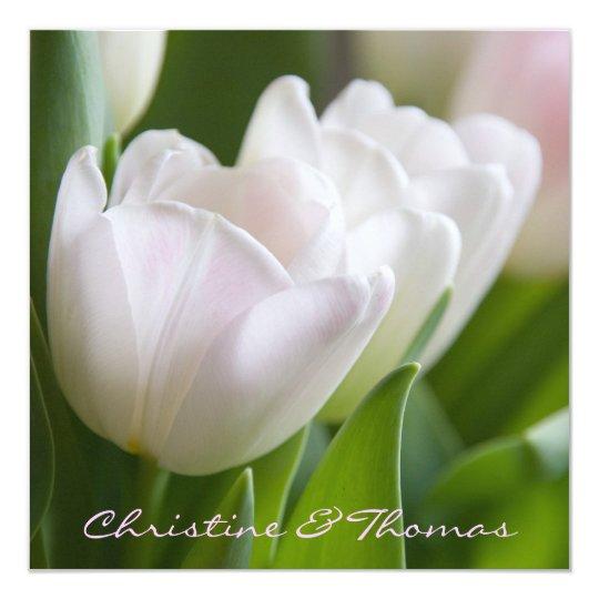 Weiße Tulpen • Save-the-Date-Postkarte Quadratische 13,3 Cm Einladungskarte