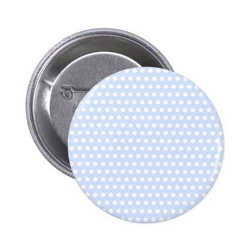 Weiße Tupfen auf Baby-Blau Anstecknadelbutton