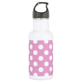 Weiße Tupfen auf blassem - Rosa Edelstahlflasche