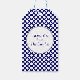 Weiße Tupfen auf blauer Gewohnheit danken Ihnen zu Geschenkanhänger