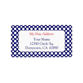 Weiße Tupfen auf blauer kundenspezifischer neuer Adressaufkleber
