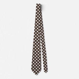 Weiße Tupfen auf Braun Krawatte