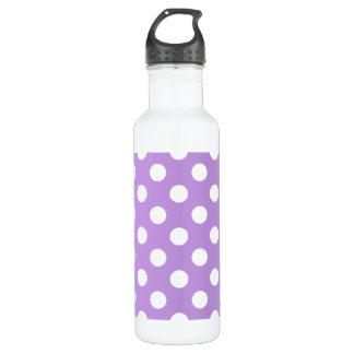 Weiße Tupfen auf Flieder Edelstahlflasche