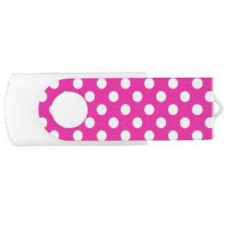 Weiße Tupfen auf Fuchsie USB Stick