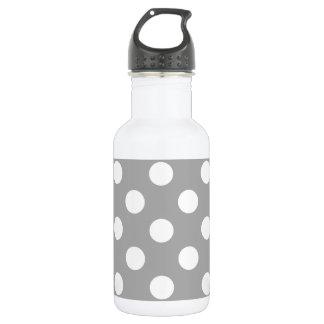 Weiße Tupfen auf Grau Edelstahlflasche