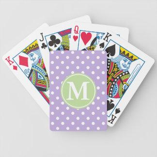 Weiße Tupfen auf Lavendel mit tadellosem Monogramm Bicycle Spielkarten