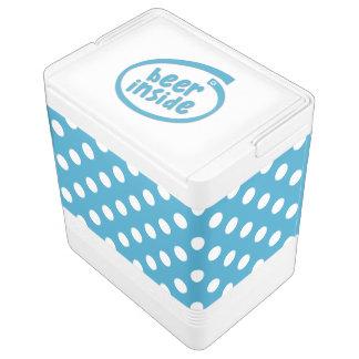 Weiße Tupfen auf Pfau-Blau-Hintergrund Kühlbox