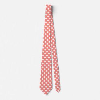Weiße Tupfen auf Pfirsich Krawatte