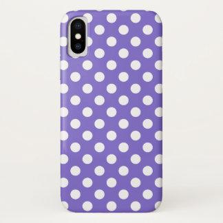 Weiße Tupfen auf Singrün iPhone X Hülle