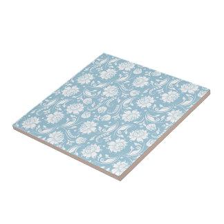Weiße u. blaue Vintage Blumenpastelldamaste Kleine Quadratische Fliese